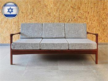 ספה תלת בסגנון רטרו מעץ מלא - מגוון צבעים