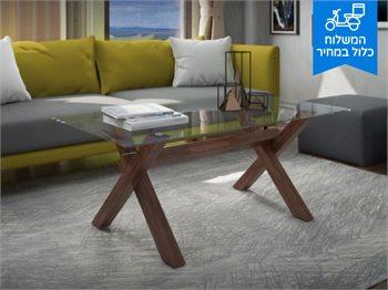 שולחן סלון בלמונטה עם רגלי מתכת בצורת איקס במראה מרהיב