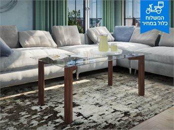 שולחן סלון פארו עשוי זכוכית בשילוב רגלי מתכת