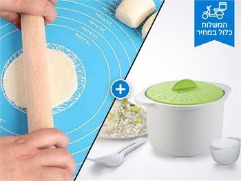 גאדג'טים למטבח-משטח אפייה סיליקון+סיר אורז למיקרוגל-כולל משלוח