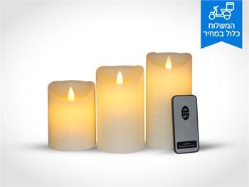 3 נרות לד דקורטיבים עשויים משעווה המדמה להבה אמיתית