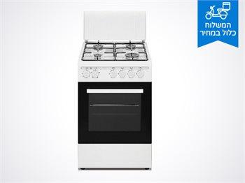 """תנור סונאב משולב כיריים גז 50 ס""""מ לבן"""