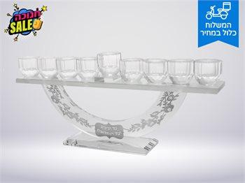 חנוכייה דגם רימונים הדלקת נרות חנוכה בסטייל-להדלקה בנר/שמן