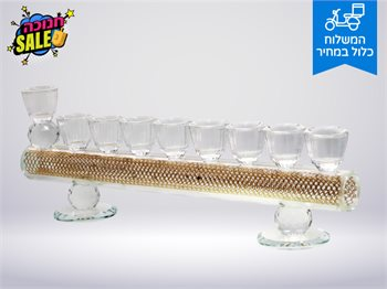חנוכייה דגם קריסטל הדלקת נרות חנוכה בסטייל-להדלקה בנר/שמן