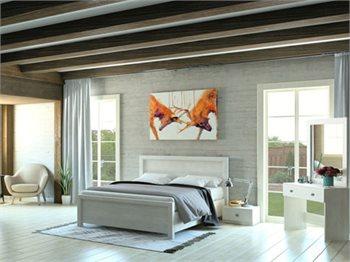 חדר שינה SUMMER מיטה זוגית, שידות לילה, שולחן איפור ומראה