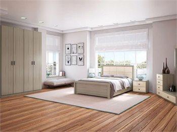 חדר שינה PROVANCE עם ארון, מיטה זוגית, שידות, 2 קומודות ומראה