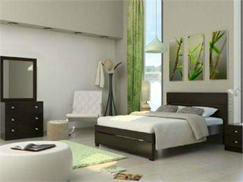 חדר שינה AVIV מיטה זוגית, 2 שידות, קומודה 3 מגירות ומראה
