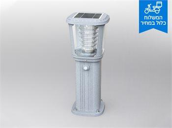 """מנורת גן דגם עודד - """"עמודון"""" סולארית עם חיישן נפח תנועה"""