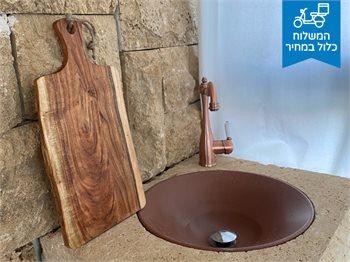 בוצ'ר הגשה-מעץ שיטה - קרש הגשה מהמם, עם ידית חור לתלייה