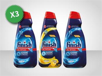 מארז 3 בקבוקי 1 ליטר ג'ל למדיח כלים פיניש Finish All in One