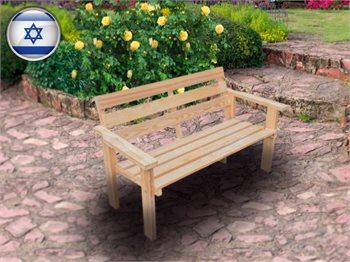 ספסל עץ זוגי לגינה מעץ אורן מלא