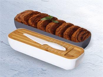 קופסת אחסון והגשה לעוגות/לחמים/גבינות עם קרש חיתוך וסכין- במגוון צבעים